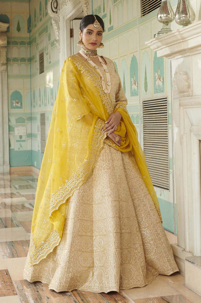 Parchment White Raw Silk Ethnic Gown