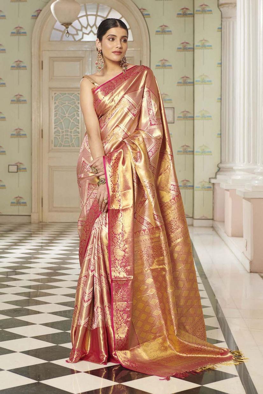 Roseshine Golden Kanchipuram Silk Saree