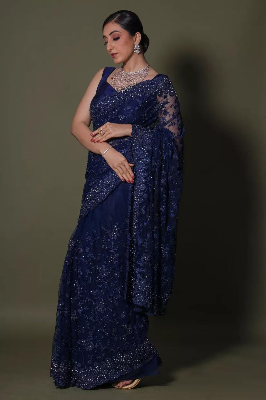 Cobalt Blue Net Saree