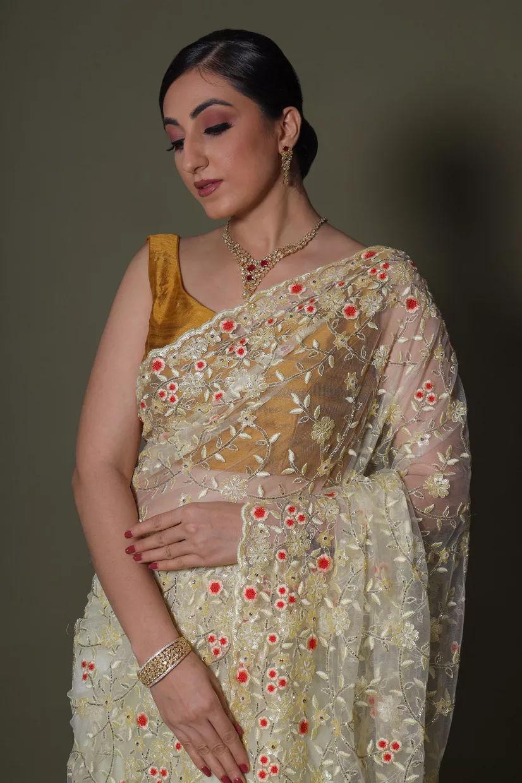 Buttercream White Net Saree