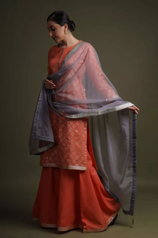 Dust Orange Silk Sharara Suit