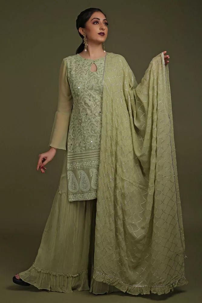 Mint Green Georgette Sharara Suit