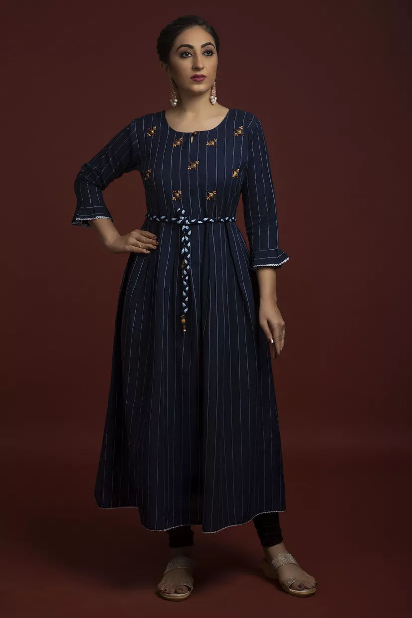 Skip to the beginning of the images gallery   Space Blue Cotton Kurti