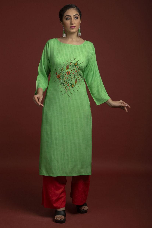 Grass Green Rayon Cotton Kurti